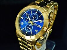 NEW Invicta Men's Specialty 45MM VD57 Chronograph BLUE Dial Gold Tone SS Watch