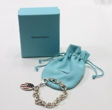 Tiffany & Co. Sterling Silver Enamel American Flag Charm Braclet