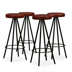 vidaXL 4x Sgabelli da Bar in Vera pelle e Acciaio Sedie Alte Cucina Seggiole