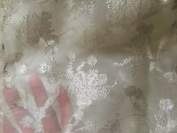 Vintage Off White sheer French Organza Voile 72% silver embroidery ~Silk~ Swiss