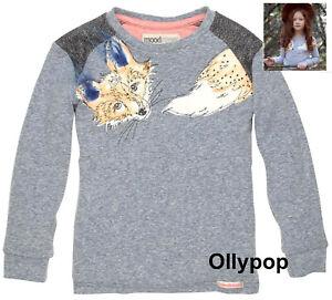 New Girls MOODSTREET 7-8 Fox print top gray slub T-shirt fur details Euro 128
