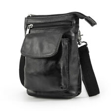 Real Leather Waist Bag Women Men Small Fanny Belt Bum Bag Messenger Shoulder Bag