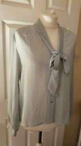 women's top by Vtg Bellino Blouse 16  grey  Sheer Modest  Governess pussy bow