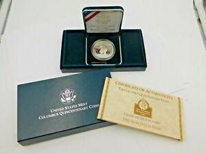 U.S. 1992 Columbus Quincentenary Proof Silver Dollar ~ Box & COA