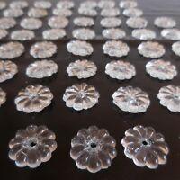59 pampilles fleurs fait main cristal design XXe art nouveau lustre France N3455