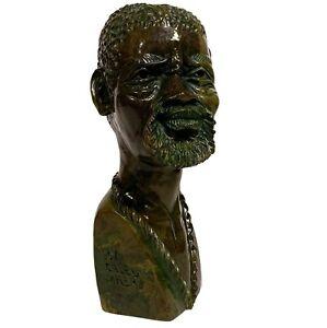 CALEB MHERE 20th c. African VERDITE STONE CARVING SCULPTURE Head of a Nubian Man