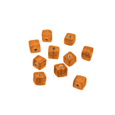 Shiny Plain 6mm Opaque Orange Glass Cube Beads Pack of 10 (R17/1)