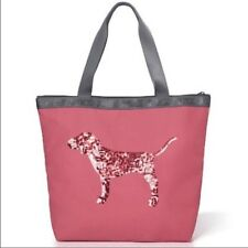 NWT VICTORIA'S SECRET PINK Dog Limited Time BLING Zip Tote Bag Soft Begonia Nude