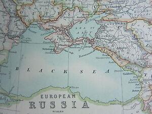 1910 MAP ~ EUROPEAN RUSSIA FINLAND POLAND CRIMEA CAUCASIA