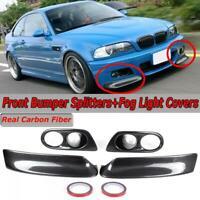 Carbon Fiber Front Bumper Splitters + Fog Light Covers For 2001-2006 BMW E46 M3