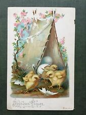 Easter Greetings Playfull Chicks Beautiful Original French Vintage Postcard