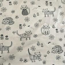 50x150cm Cotton Linen Fabric Zakka DIY Home Deco Print Black Cat F315 B#
