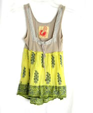 Free People Womens Yellow Green Sleeveless Boho Tank Top Shirt Size S