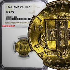 Jamaica George VI Nickel-Brass 1945 1 Farthing NGC MS65 TOP GRADED  KM# 30