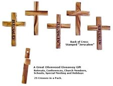 Grade A Olive Wood Pocket Crosses, Set of 25, Made in Jerusalem Great Giveaway!