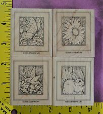 Stampin Up DRAWING ON NATURE hummingbird butterfly rabbit flower 4 rubber stamps