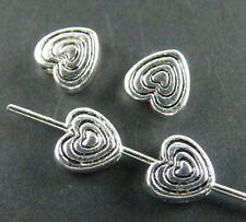 200pcs Tibetan Silver 2Sides Heart Spacer Beads Jewelry DIY 6x6x3mm 10742