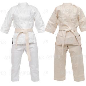 White Judo Suit Student GI Uniform Training Free Cream Belt Kids Boys Girls Kit
