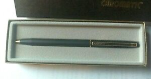 Vintage CHROMATIC Twist Action All Metal BALL POINT PEN Matte Black in box