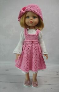 Dress, Pinafore, Hat, Shoes for doll Paola Reina Little Darling 32-34cm handmade