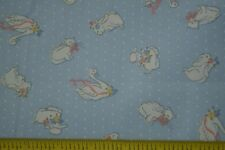 """By 1/2 Yd, 43"""", Vintage, White Baby-Print on Light-Blue Polished Cotton M7493"""
