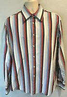 7 Diamonds Men's XL Long Sleeve Red White Blue Striped button Front dress shirt