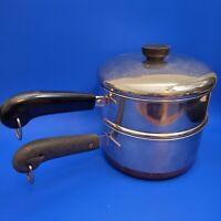 Revere Ware 3 Qt Pot W/Steamer Stainless / Copper Bottom Clinton 1801 99f w/ Lid