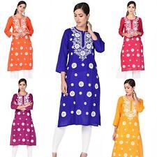 Women Fancy Cotton Kurta Embroidery Chikan Long straight Kurta Boho Shirt USA