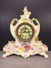 Antique Ansonia Porcelain Royal Bonn Case Clock 1880s w/ Open Escapement  Runs
