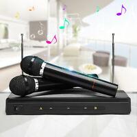 Dual Cordless Wireless Mic Microphone + One Receiver for Karaoke DJ Sing