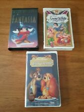 Vintage Lot Of Disney VHS Movies Fantasia , Snow White, and Lady and the Tramp