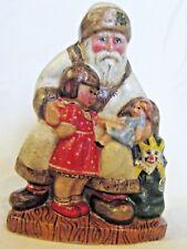 VAILLANCOURT FOLK ART #562 White Fr. Christmas w/little Girl & Bag of Toys-#7