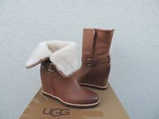 "UGG ELLECIA CHESTNUT LEATHER/ SHEEPSKIN CUFF 3"" WEDGE BOOTS, US 7/ EUR 38 ~NIB"