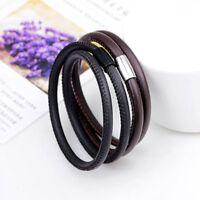 Men Fashion Unisex Jewelry Cuff PU Leather Buckle Magnetic Bangle Bracelet