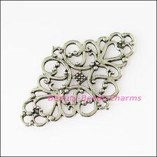 4Pcs Antiqued Silver Tone Oval Flowers Charms Pendants Connectors 29x40mm