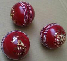 Solid Hide Red Test Cricket Ball Leather Entirely Stitched 5.5 oz MCC Approved