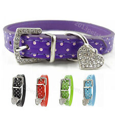 Kitten Kitty collar Rhinestone Cat purple black Collars Pet pu leather Dog Charm