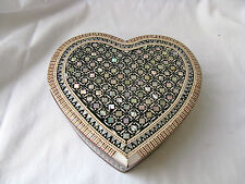 """Egyptian Mother of Pearl Inlaid Jewelry Box Heart Shaped Valentine 5.75"""" #759"""