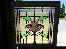 ~ ANTIQUE AMERICAN STAINED GLASS WINDOW 24 x 23 2 OF 2 ~ ARCHITECTURAL SALVAGE ~