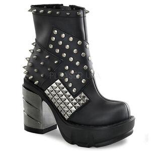 DEMONIA SIN64/BPU Women Black Spike Studded Cyber Punk Goth Platform Ankle Boots