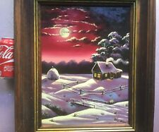 Great Russia - Russian painting of a cabin in a moonlite red sky. Great colors.