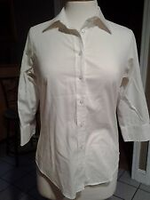 Lady Hathaway Pure White BUTTON DOWN 3/4 SLEEVE BLOUSE SHIRT S/P