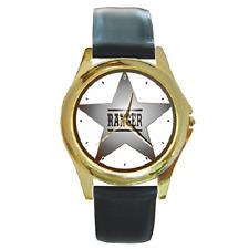 Reloj De Pulsera Insignia de la estrella de Ranger Texas Ranger Viejo Oeste Redondo ** Gran Regalo Artículo ***