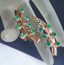 VTG MUST C Modernist Sterling Green Rhinestone Flower Tree Leaf Climber Earrings