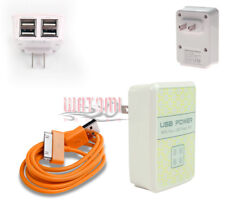 100 4 USB PORT WALL ADAPTER+3FT CABLE POWER CHARGER ORANGE GALAXY TAB 7 8.9 10.1