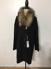NWT Women's Soia & Kyo Suvi Wool Blend Fur Trim Coat, Small, Black