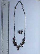 Attractive Purple Toned Stone Necklace & Earrings Set. New.