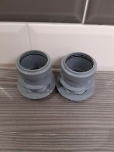 Set Of 2-40mm PolyPipe Pushfit Tank Connectors In Grey