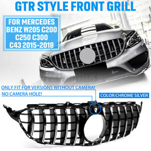 For Mercedes Benz W205 C200 C250 C300 15-18 GT GT-R Look Front Grille Grill Mesh
