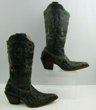 Ladies Corral Black Leather Western Cowgirl Pointed Toe Western Boots Size: 5.5M